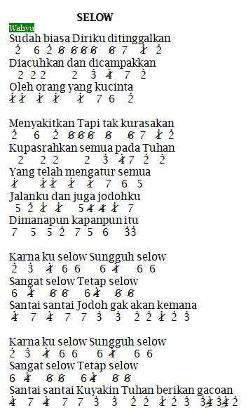 Not Angka Pianika Selow – Wahyu
